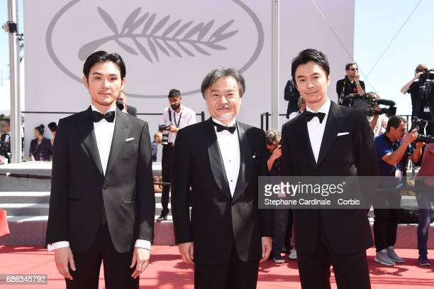 Actor Ryuhei Matsuda director Kiyoshi Kurosawa and actor Hiroki Hasegawa attend the 'Before We Vanish ' premiere during the 70th annual Cannes Film...