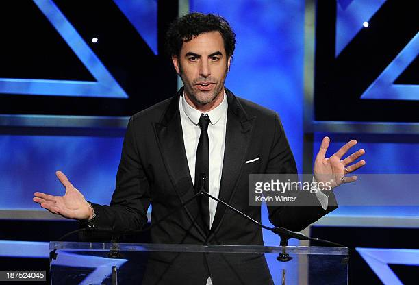 Actor Sacha Baron Cohen accepts the Charlie Chaplin Britannia Award for Excellence in Comedy onstage during the 2013 BAFTA LA Jaguar Britannia Awards...