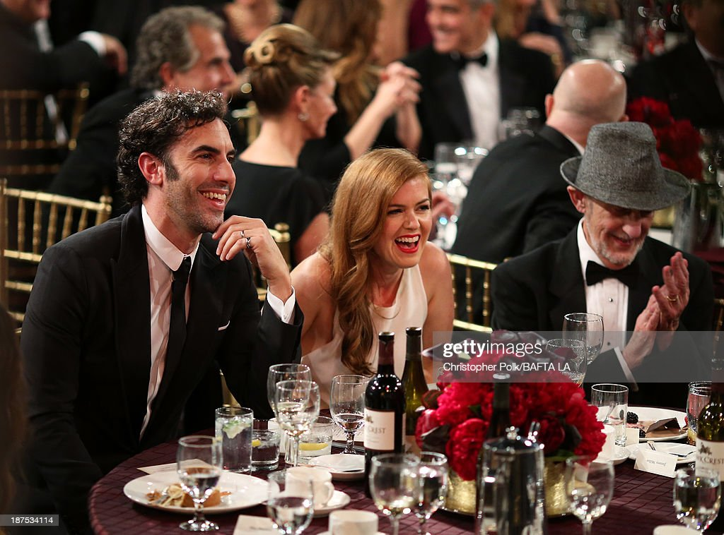 Actor <a gi-track='captionPersonalityLinkClicked' href=/galleries/search?phrase=Sacha+Baron+Cohen&family=editorial&specificpeople=216389 ng-click='$event.stopPropagation()'>Sacha Baron Cohen</a>, actress <a gi-track='captionPersonalityLinkClicked' href=/galleries/search?phrase=Isla+Fisher&family=editorial&specificpeople=220257 ng-click='$event.stopPropagation()'>Isla Fisher</a> and Gerald Baron Cohen attend the 2013 BAFTA LA Jaguar Britannia Awards presented by BBC America at The Beverly Hilton Hotel on November 9, 2013 in Beverly Hills, California.