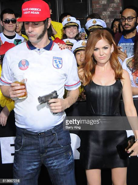 Actor Sacha Baron Cohen and actress Isla Fisher attend Premiere of Columbia Pictures and Village Roadshow Pictures 'The Brothers Grimsby' at Regency...