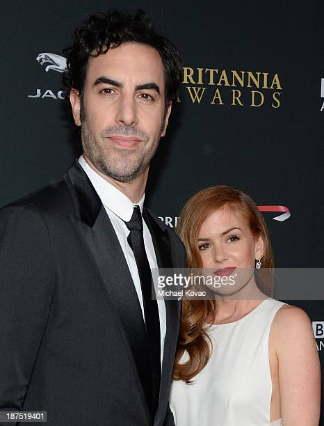 Actor Sacha Baron Cohen and actress Isla Fisher with Stylebopcom attend the 2013 BAFTA LA Jaguar Britannia Awards presented by BBC America at The...