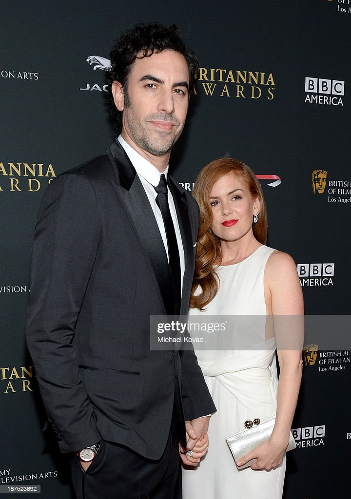 Actor <a gi-track='captionPersonalityLinkClicked' href=/galleries/search?phrase=Sacha+Baron+Cohen&family=editorial&specificpeople=216389 ng-click='$event.stopPropagation()'>Sacha Baron Cohen</a> (L) and actress <a gi-track='captionPersonalityLinkClicked' href=/galleries/search?phrase=Isla+Fisher&family=editorial&specificpeople=220257 ng-click='$event.stopPropagation()'>Isla Fisher</a> with Stylebop.com attend the 2013 BAFTA LA Jaguar Britannia Awards presented by BBC America at The Beverly Hilton Hotel on November 9, 2013 in Beverly Hills, California.