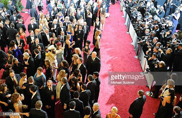 Actor Sacha Baron Cohen arrives on the red carpet of the 84th Annual Academy Awards at the Kodak Theatre on February 26 2012 in Hollywood California