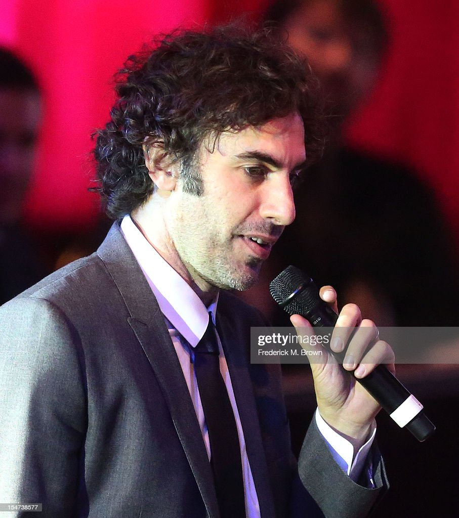 Actor <a gi-track='captionPersonalityLinkClicked' href=/galleries/search?phrase=Sacha+Baron+Cohen&family=editorial&specificpeople=216389 ng-click='$event.stopPropagation()'>Sacha Baron Cohen</a> speaks during The Fulfillment Fund's STARS 2012 Benefit Gala at The Beverly Hilton Hotel on October 24, 2012 in Beverly Hills, California.