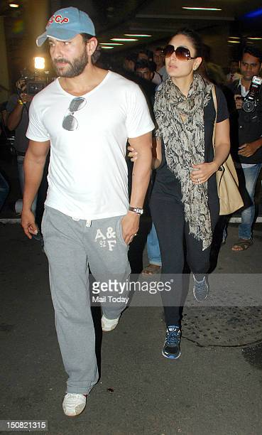 Actor Saif Ali Khan and Kareena Kapoor at the Mumbai International Airport on Thursday 23rd August 2012