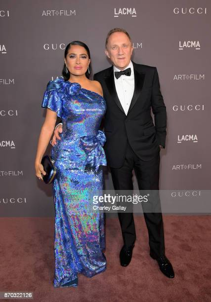 Actor Salma Hayek wearing Gucci and FrancoisHenri Pinault attend the 2017 LACMA Art Film Gala Honoring Mark Bradford And George Lucas at LACMA on...