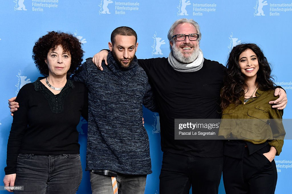 Actor Salwa Nakkara, Co-author Tamer Nafar, Director Udi Aloni and Actress Samar Qupty attend the 'Junction 48' photo call during the 66th Berlinale International Film Festival Berlin at Grand Hyatt Hotel on February 13, 2016 in Berlin, Germany.