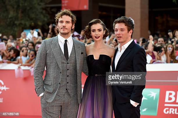 Actor Sam Claflin actress Lily Collins and Christian Ditter attend the 'Love Rosie' Red Carpet during the 9th Rome Film Festival on October 19 2014...