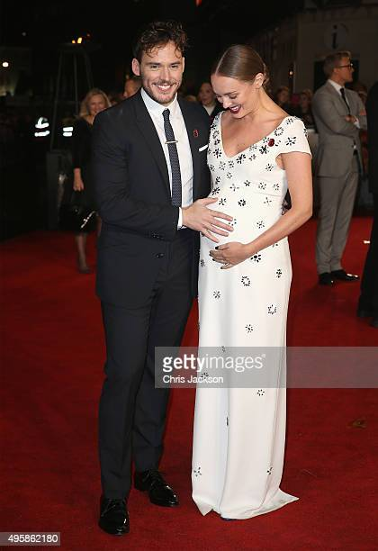 Actor Sam Claflin and Laura Haddock attend 'The Hunger Games Mockingjay Part 2' UK Premiere at the Odeon Leicester Square on November 5 2015 in...