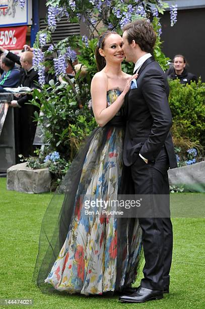 Actor Sam Claflin and Laura Haddock attend the World Premiere of 'Snow White And The Huntsman' at The Empire and Odeon Leicester Square on May 14...
