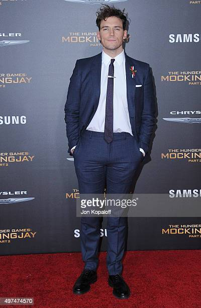 Actor Sam Claflin arrives at the Los Angeles Premiere Of Lionsgate's 'The Hunger Games Mockingjay Part 2' at Microsoft Theater on November 16 2015 in...