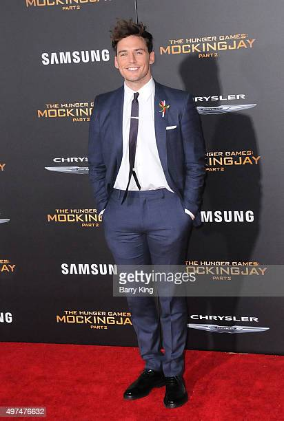 Actor Sam Claflin attends Premiere Of Lionsgate's 'The Hunger Games Mockingjay Part 2' at Microsoft Theater on November 16 2015 in Los Angeles...