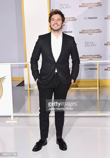 Actor Sam Claflin attends the Premiere of Lionsgate's 'The Hunger Games Mockingjay Part 1' at Nokia Theatre LA Live on November 17 2014 in Los...
