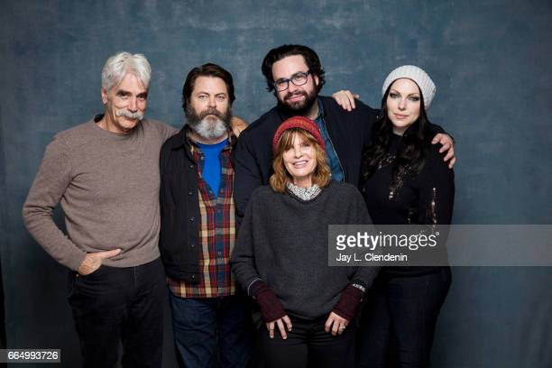 Actor Sam Elliott actor Nick Offerman director Brett Haley actress Katharine Ross and actress Laura Prepon from the film The Hero are photographed at...