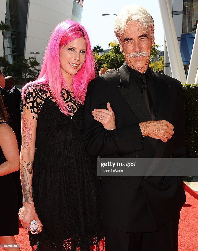 Actor Sam Elliott (R) and daughter Cleo Cole Elliott attend the 2013 Creative Arts Emmy Awards at Nokia Theatre L.A. Live on September 15, 2013 in Los Angeles, California.