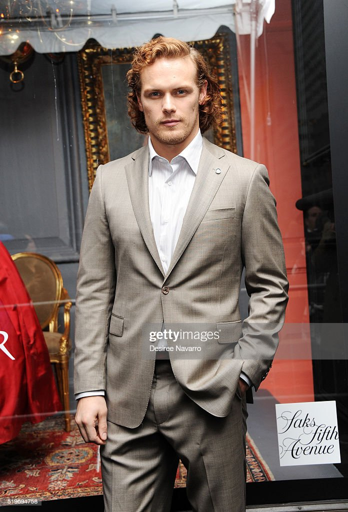 Actor Sam Heughan attends Saks Fifth Avenue 'Outlander' Window Display Unveiling at Saks Fifth Avenue on April 7, 2016 in New York City.