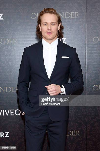 Actor Sam Heughan attends the 'Outlander' Season Two World Premiere at American Museum of Natural History on April 4 2016 in New York City