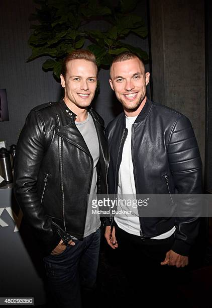 Actor Sam Heughan of 'Outlander' and Ed Skrein attend the Getty Images Portrait Studio powered by Samsung Galaxy at ComicCon International 2015 at...