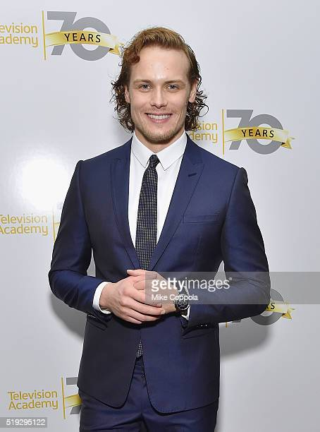 Actor Sam Heughan poses for a picture as the Television Academy Presents 'Outlander' Panel Discussion at NYU Skirball Center on April 5 2016 in New...