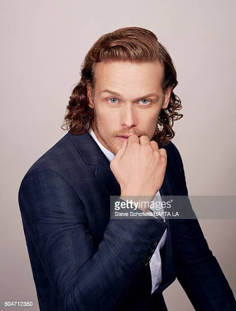 Actor Sam Heughan poses for a portrait at the BAFTA Los Angeles Awards Season Tea at the Four Seasons Hotel on January 9 2016 in Los Angeles...