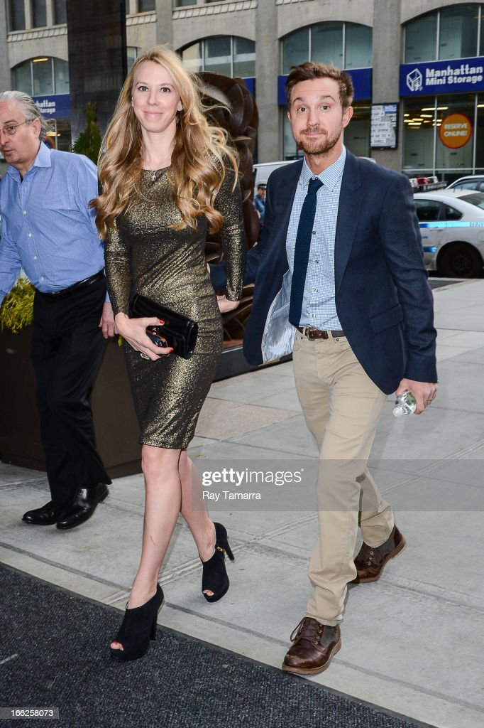 Actor <a gi-track='captionPersonalityLinkClicked' href=/galleries/search?phrase=Sam+Huntington&family=editorial&specificpeople=546776 ng-click='$event.stopPropagation()'>Sam Huntington</a> (R) and Rachel Klein leave their Soho hotel on April 10, 2013 in New York City.
