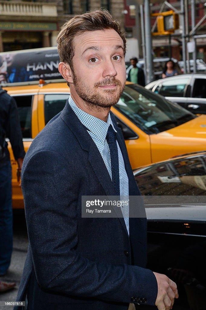 Actor Sam Huntington leaves his Soho hotel on April 10, 2013 in New York City.