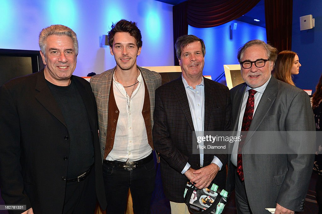 Actor Sam Palladio, Nashville Mayor Karl Dean and Rod Essig, VP of CAA Nashville attend the All For the Hall New York concert benefiting the Country Music Hall of Fame at Best Buy Theater on February 26, 2013 in New York City.