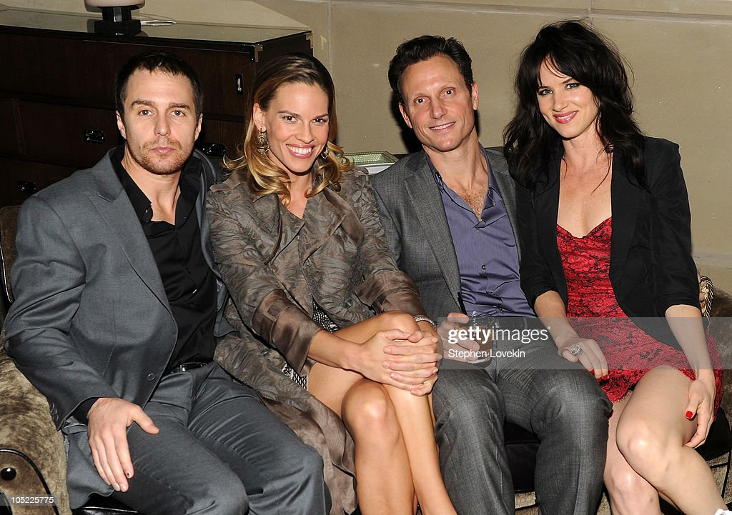Actor Sam Rockwell actress Hilary Swank director Tony Goldwyn and actress Juliette Lewis attend the Cinema Society Laura Mercier host the after party...