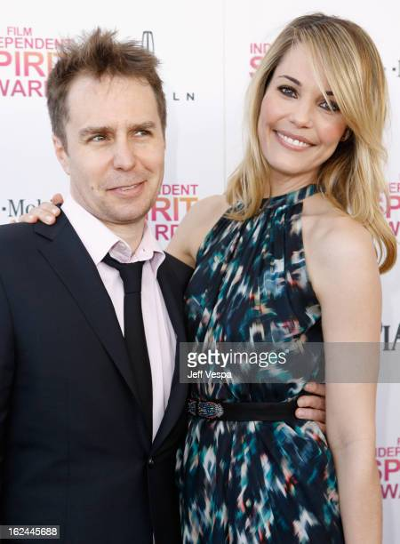 Actor Sam Rockwell and actress Leslie Bibb attend the 2013 Film Independent Spirit Awards at Santa Monica Beach on February 23 2013 in Santa Monica...