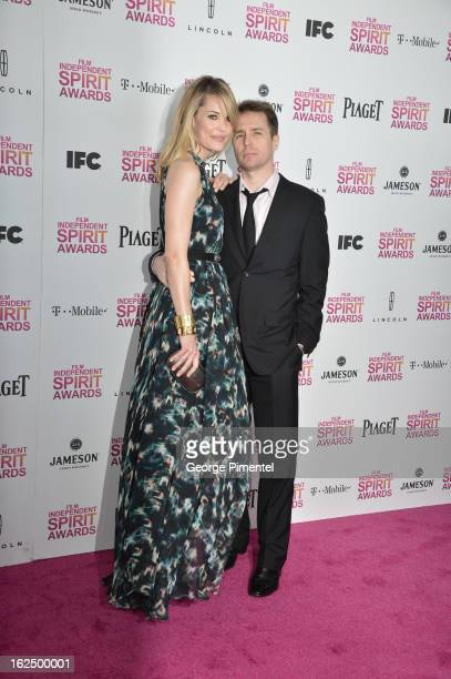 Actor Sam Rockwell and and Leslie Bibb arrive at the 2013 Film Independent Spirit Awards at Santa Monica Beach on February 23 2013 in Santa Monica...