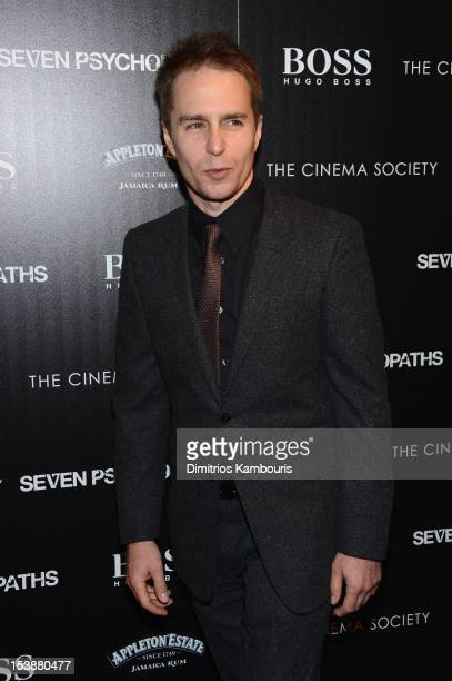 Actor Sam Rockwell attends The Cinema Society with Hugo Boss and Appleton Estate screening of 'Seven Psychopaths' at Clearview Chelsea Cinemas on...