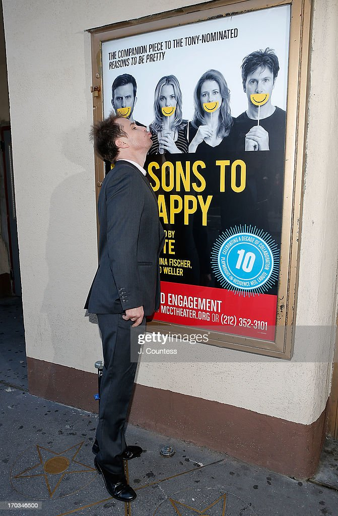 Actor <a gi-track='captionPersonalityLinkClicked' href=/galleries/search?phrase=Sam+Rockwell&family=editorial&specificpeople=213214 ng-click='$event.stopPropagation()'>Sam Rockwell</a> attends the 'Reasons To Be Happy' Broadway Opening Night at Lucille Lortel Theatre on June 11, 2013 in New York City.