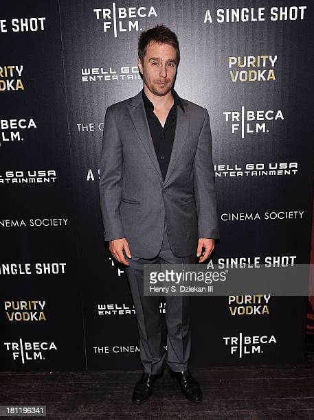 Actor Sam Rockwell attends the Tribeca Film The Cinema Society screening of 'A Single Shot' at Tribeca Grand Hotel on September 19 2013 in New York...