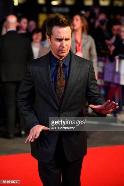 US actor Sam Rockwell poses on the red carpet attending the UK premiere of the film Three Billboards Outside Ebbing Missouri during the closing night...