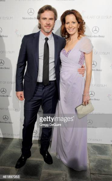 Actor Sam Trammell and Missy Yager arrive at The Art of Elysium's 7th Annual HEAVEN Gala at the Guerin Pavilion at the Skirball Cultural Center on...