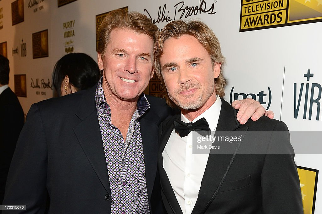 Actor Sam Trammell (R) arrive at Broadcast Television Journalists Association's third annual Critics' Choice Television Awards at The Beverly Hilton Hotel on June 10, 2013 in Los Angeles, California.