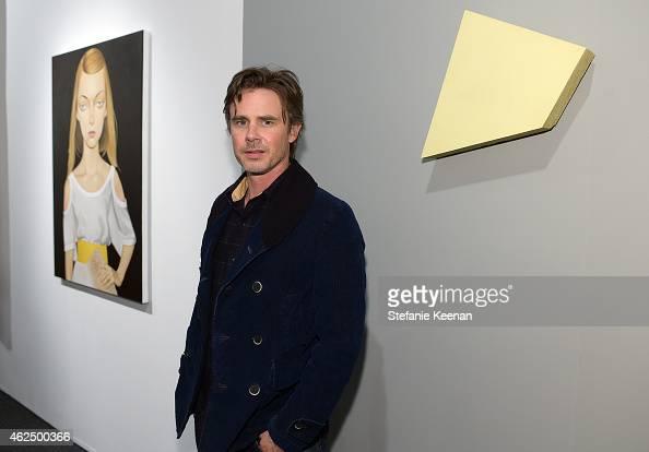 Actor Sam Trammell attends the Art Los Angeles Contemporary 2015 Opening Night at Barker Hangar on January 29 2015 in Santa Monica California