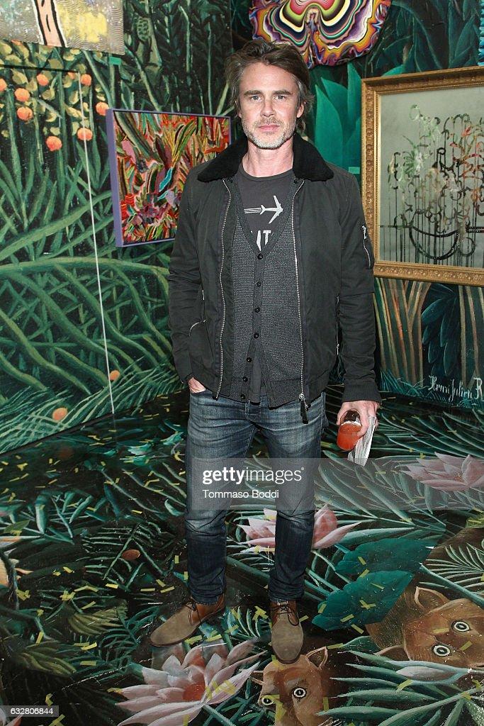 Actor Sam Trammell attends the Art Los Angeles Contemporary 2017 opening night at Barker Hangar on January 26, 2017 in Santa Monica, California.