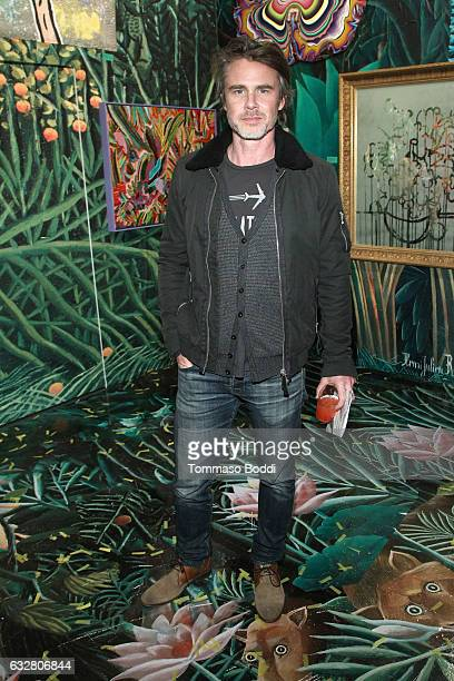 Actor Sam Trammell attends the Art Los Angeles Contemporary 2017 opening night at Barker Hangar on January 26 2017 in Santa Monica California