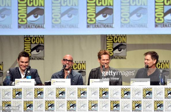 Actor Sam Underwood director Marcos Siega actor Kevin Bacon and show creator Kevin Williamson attend FOX's 'The Following' panel during ComicCon...