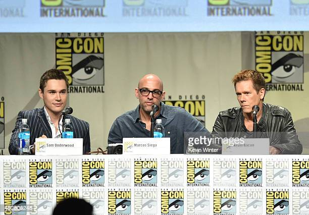 Actor Sam Underwood director Marcos Siega and actor Kevin Bacon attend FOX's 'The Following' panel during ComicCon International 2014 at San Diego...