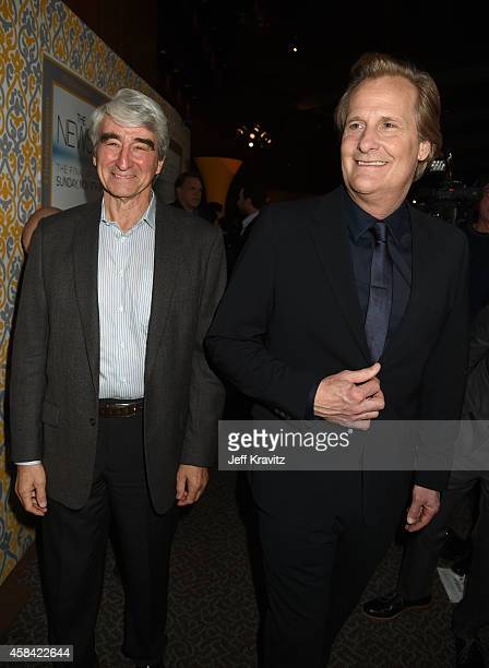 Actor Sam Waterston and actor Jeff Daniels attend the premiere of HBO's 'The Newsroom' Season 3 at the DGA Theater on November 4 2014 in Los Angeles...