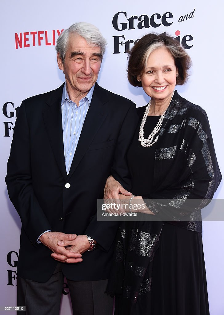 Actor <a gi-track='captionPersonalityLinkClicked' href=/galleries/search?phrase=Sam+Waterston&family=editorial&specificpeople=212718 ng-click='$event.stopPropagation()'>Sam Waterston</a> (L) and Lynn Louisa Woodruff arrive at the Netflix Original Series 'Grace & Frankie' Season 2 premiere at the Harmony Gold Theater on May 1, 2016 in Los Angeles, California.