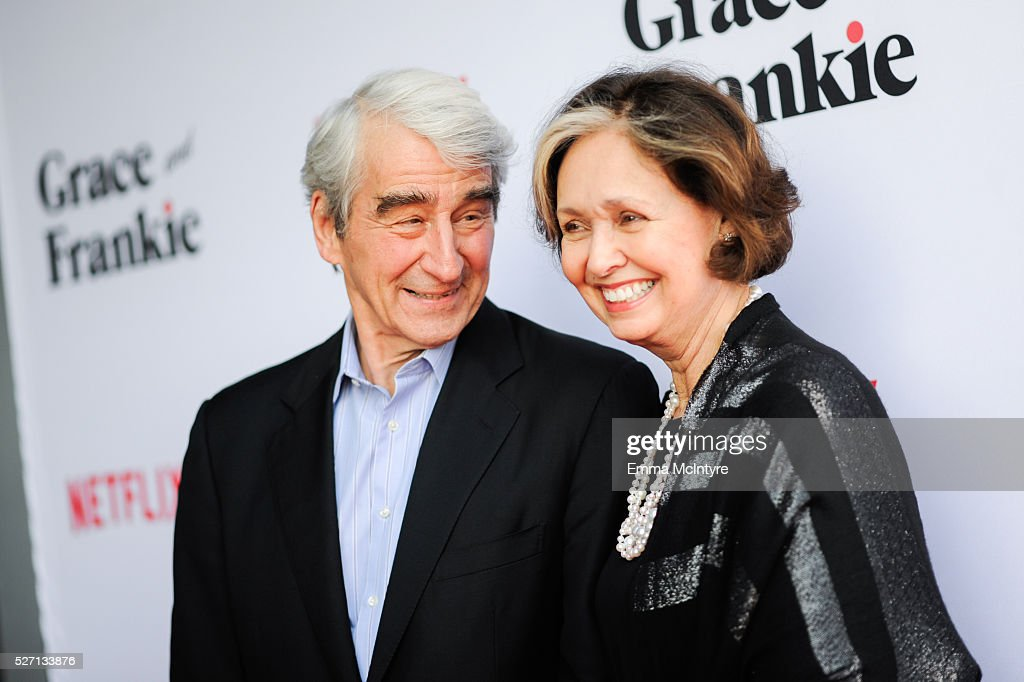 Actor <a gi-track='captionPersonalityLinkClicked' href=/galleries/search?phrase=Sam+Waterston&family=editorial&specificpeople=212718 ng-click='$event.stopPropagation()'>Sam Waterston</a> (L) and Lynn Louisa Woodruff arrive at the Netflix Original Series 'Grace & Frankie' Season 2 premiere at Harmony Gold on May 1, 2016 in Los Angeles, California.