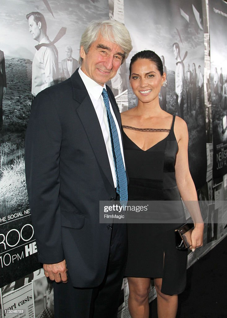 Actor Sam Waterston (L) and Olivia Munn attend HBO's 'The Newsroom' season 2 premiere at Paramount Studios on July 10, 2013 in Hollywood, California.