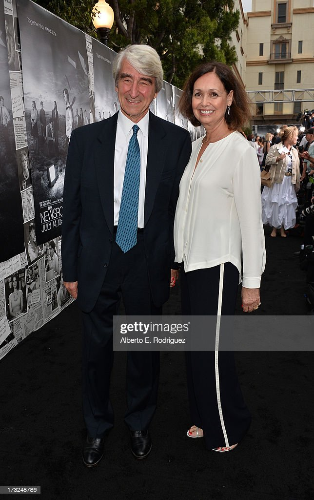 Actor <a gi-track='captionPersonalityLinkClicked' href=/galleries/search?phrase=Sam+Waterston&family=editorial&specificpeople=212718 ng-click='$event.stopPropagation()'>Sam Waterston</a> and wife Lynn Louisa Woodruf arrive for the premiere of HBO's 'The Newsroom' Season 2 at Paramount Theater on the Paramount Studios lot on July 10, 2013 in Hollywood, California.