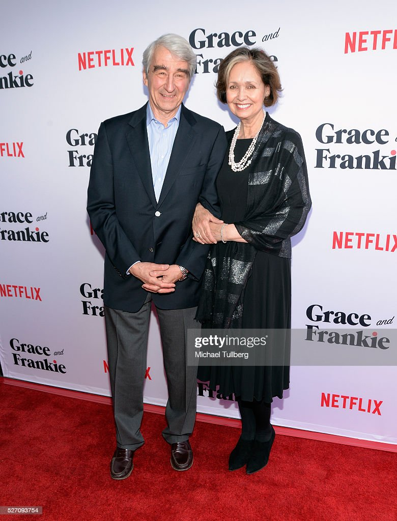 Actor <a gi-track='captionPersonalityLinkClicked' href=/galleries/search?phrase=Sam+Waterston&family=editorial&specificpeople=212718 ng-click='$event.stopPropagation()'>Sam Waterston</a> and wife Lynn Louisa Woodruff attend the premiere of Season 2 of the Netflix Original Series 'Grace & Frankie' at Harmony Gold on May 1, 2016 in Los Angeles, California.