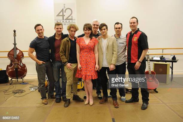Actor Sam Weber Jason Loughlin Nat Zegree Bligh Voth David Sonneborn Alex Boniello James Barry and Scott Moreau attend the 'Million Dollar Quartet'...