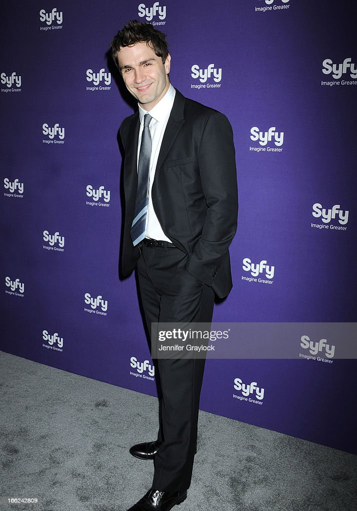 Actor <a gi-track='captionPersonalityLinkClicked' href=/galleries/search?phrase=Sam+Witwer&family=editorial&specificpeople=4631209 ng-click='$event.stopPropagation()'>Sam Witwer</a> attends the Syfy 2013 Upfront at Silver Screen Studios at Chelsea Piers on April 10, 2013 in New York City.