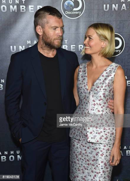 Actor Sam Worthington and Lara Bingle attend the Discovery's 'Manhunt Unabomber' World Premiere at the Appel Room at Jazz at Lincoln Center Frederick...